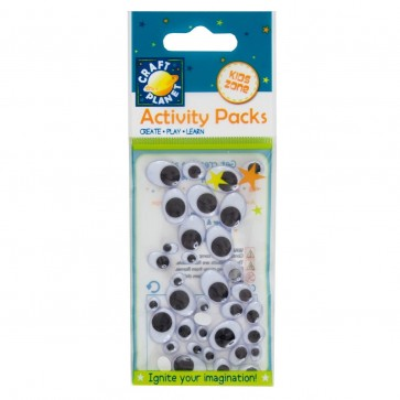 Wiggle Eyes (36pcs) Oval - Black & White (Assorted Sizes)