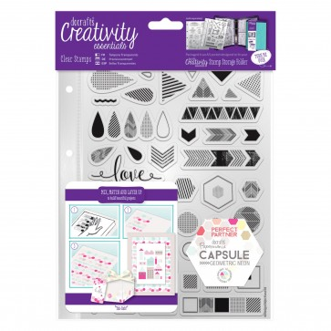 A5 Clear Stamp Set (45pcs) - Capsule - Geometric Neon