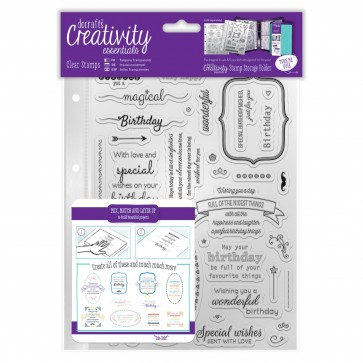 A5 Clear Stamp Set (39pcs) - Birthday Verses