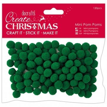 Mini Pom Poms (120pcs) - Green