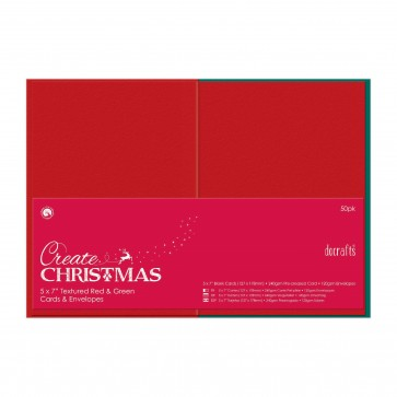 """5 x 7"""" Cards/Envelopes Textured (50pk, 240gsm) - Red & Green"""