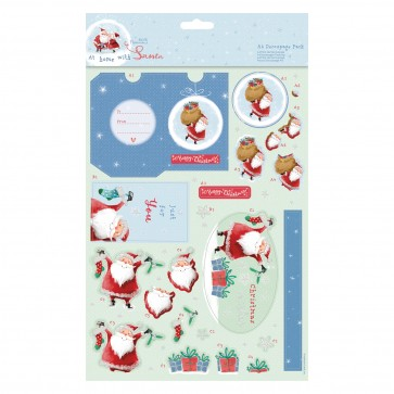 A4 Decoupage Pack - At Home with Santa - For You