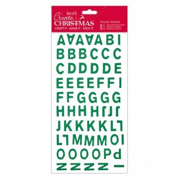 Christmas Alphabet Thicker Stickers - Green Glitter