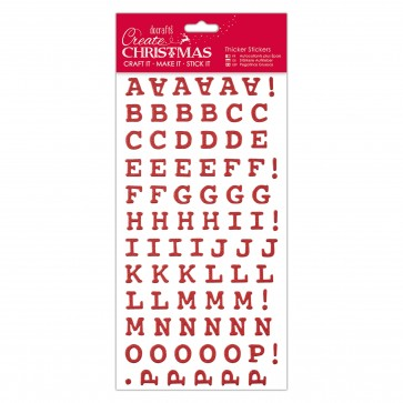 Christmas Alphabet Thicker Stickers - Red Glitter