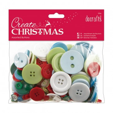 Assorted Buttons (250g) - Traditional Christmas
