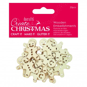 Wooden Embellishment (20pcs) - Gingerbread Men - Create Christmas