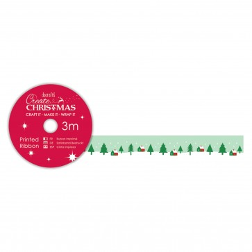 Printed Ribbon (3m) - Green Trees