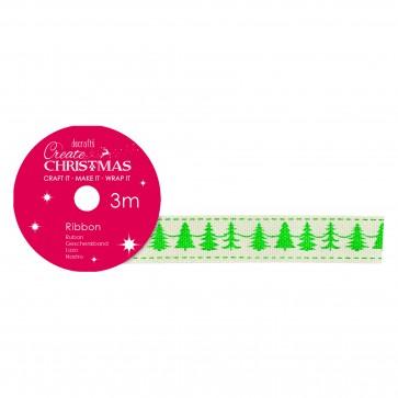 Cotton Christmas Ribbon (3m) - Christmas Trees - Create Christmas