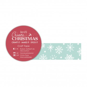 Craft Tape (5m) - Green Snowflakes