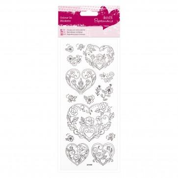 Colour In Glitter Stickers - Rose Heart