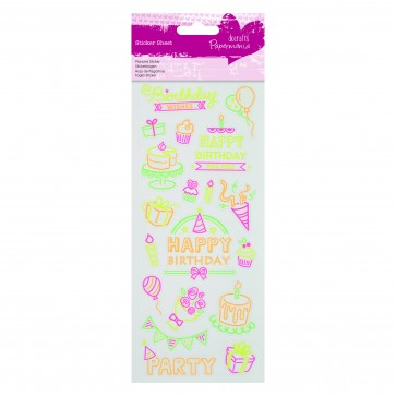 Neon Glitter Stickers - Birthday
