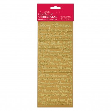 Outline Stickers - Traditional Xmas Sentiments - Gold