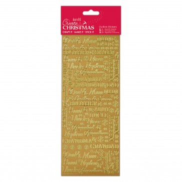 Outline Stickers - Traditional Xmas Relations - Gold