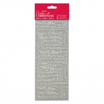 Outline Stickers - Traditional Xmas Relations - Silver