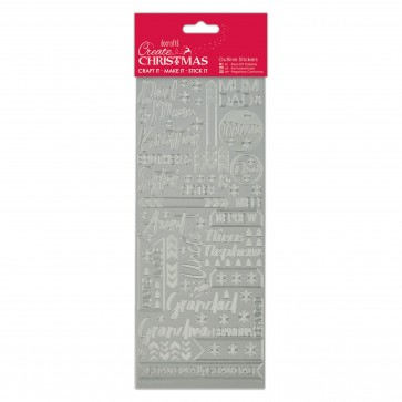 Outline Stickers - Contemporary Xmas Relations - Silver