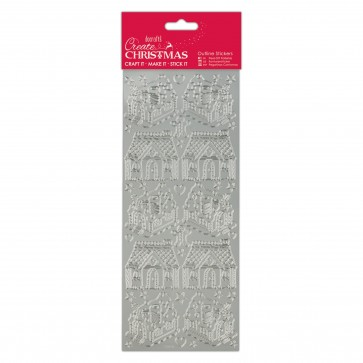Outline Stickers - Gingerbread Houses - Silver
