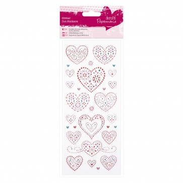 Glitter Dot Stickers - Love Hearts