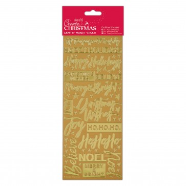 Outline Stickers - Contemporary Xmas Sentiments - Gold