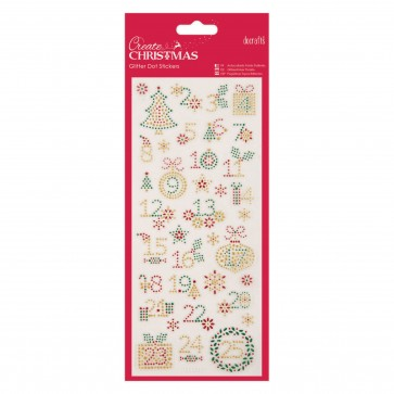 Glitter Dot Stickers - Christmas Numbers