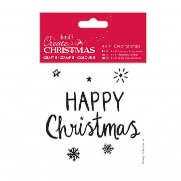 "4 x 4"" Clear Stamps - Happy Christmas"