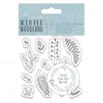 "4 x 4"" Clear Stamp - Winter Woodland - Wreath"