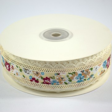 Ribbon 40mm Floral Pattern with Lace Edge Blue (18 Metres)