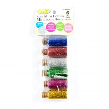 Fine Glitter Cork Bottles (6 Pack)