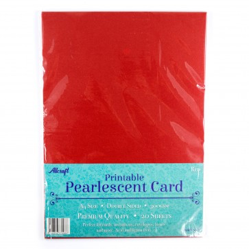 Printable Pearlescent A4 Card 300gsm Red (20 Pack)
