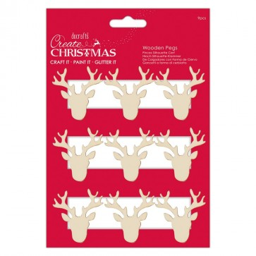 Stag Silhouette Pegs (9pcs) - Create Christmas