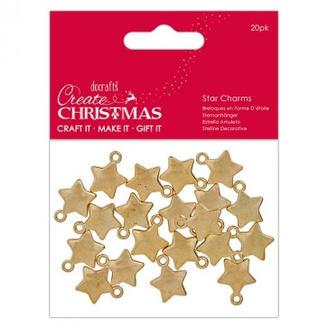 Gold Star Charms (20 pcs) - Create Christmas