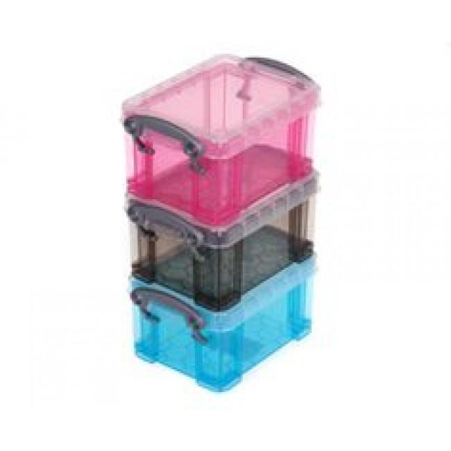 Plastic Stackable Storage Boxes 145 X 8 X 6cm 3 Pack Storage