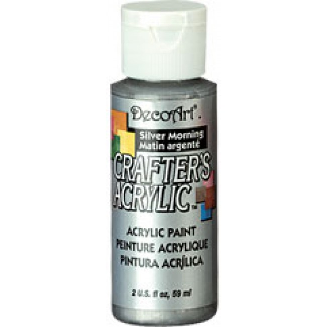 Acrylic paint 2oz metallic silver morning acrylic for Acrylic paint in bulk