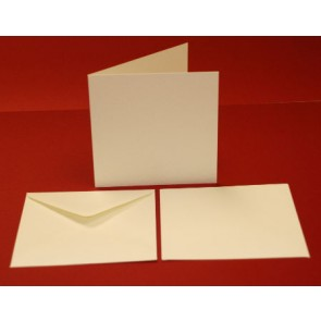 135x135mm Hammered Cards & Envelopes Ivory (10 Pack)