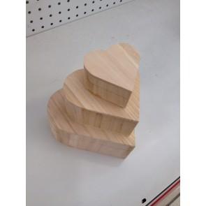 Wood Box Heart (3 Pack) 7.5-16cm