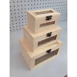 Wood Box with Mesh (3 Pack) 11-18cm