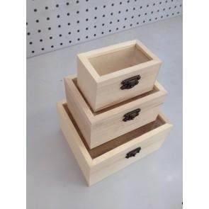 Wood Box Glass Top (3 Pack) 9-14.5cm
