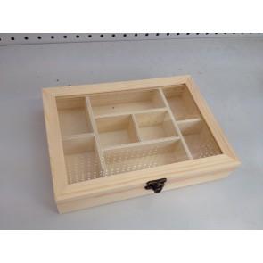 Wood Box 8 Compartment 25X17.5X5cm