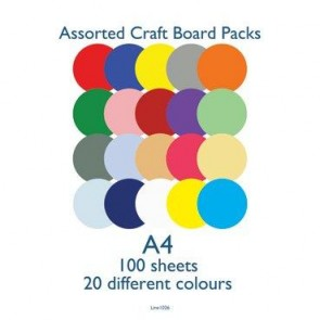 A4 Card 160gsm Assorted (100 Pack)