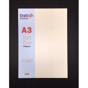 A3 Linen Card 300gsm Ivory (50 Pack)