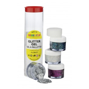 Glitter Gel 8ml Tubes - Gold Dust, Silver, Multi and Fuchsia Pink