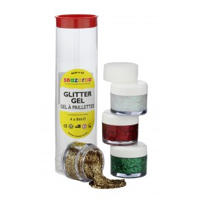 Glitter Gel 8ml Tubes - Red Gold, Star Dust, Regal Red and Bright Green