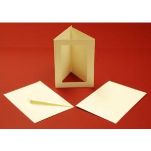 A6 Hammered Cards & Envelopes Tri-Fold Rectangle Aperture Ivory (10 Pack)
