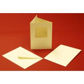 A6 Hammered Cards & Envelopes Tri-Fold Square Aperture Ivory (10 Pack)