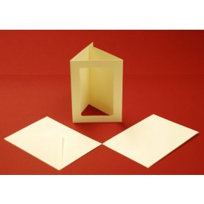 A6 Cards & Envelopes Tri-Fold Rectangle Aperture Ivory (10 Pack)