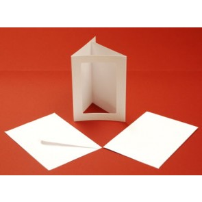 A5 Hammered Cards & Envelopes Tri-Fold Rectangle Aperture White (10 Pack)