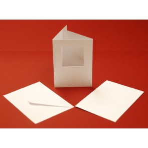 A6 Hammered Cards & Envelopes Tri-Fold Square Aperture White (10 Pack)