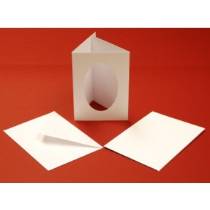 A6 Cards & Envelopes Tri-Fold Oval Aperture White (10 Pack)