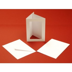 A6 Cards & Envelopes Tri-Fold Rectangle Aperture White (10 Pack)
