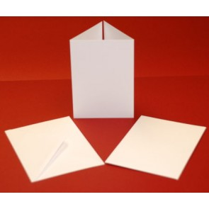 A6 Hammered Cards & Envelopes Tri-Fold White (10 Pack)