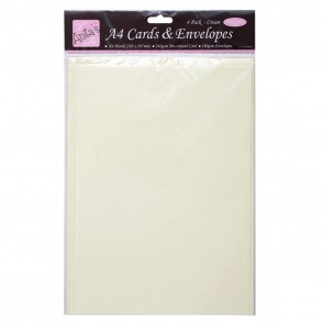 A4 Cards/Envelopes (4pk) - Cream